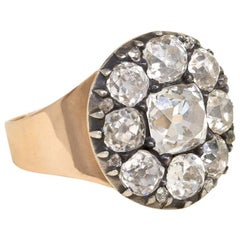 Late 18th Century Old Mine Cut Diamond Cluster Ring