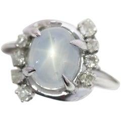 1920s 3 Carat Star Sapphire and 0.25 Carat Diamond 14 Karat White Gold Ring