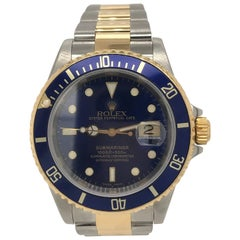 Rolex 18K Yellow Gold Stainless Steel Submariner Blue Dial & Bezel circa 2000