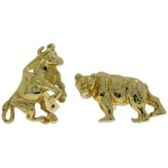 Bull and Bear Yellow Gold Cufflinks