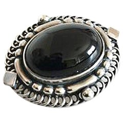 Georg Jensen Sterling Silver Brooch with Black Onyx Stone No 419