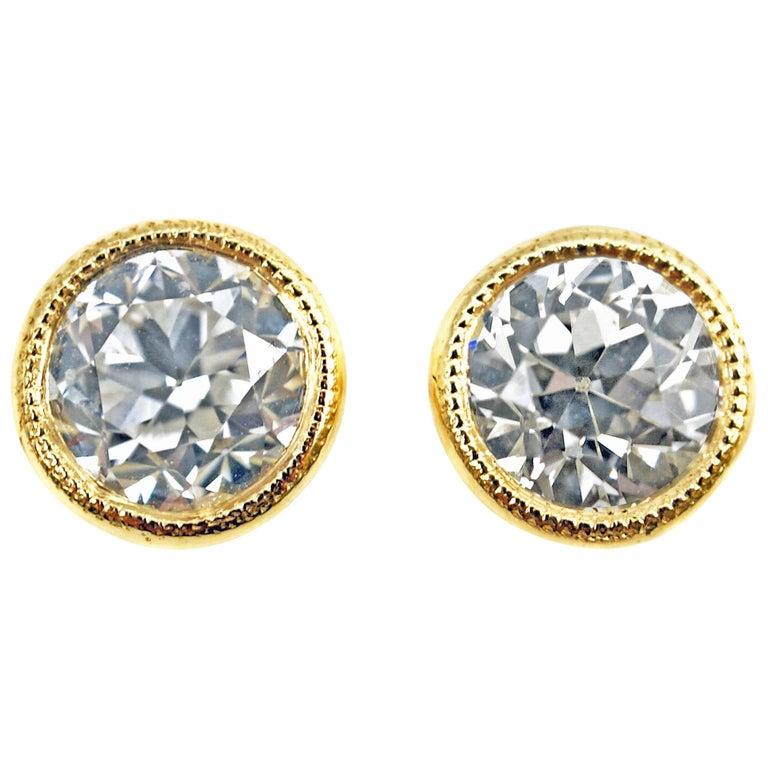 Old European Cut 1 43 Carat Gia Certified Diamond 18 Karat Gold Stud Earrings For