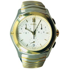 Ebel Yellow Gold Stainless Steel Wave Chronograph quartz Wristwatch
