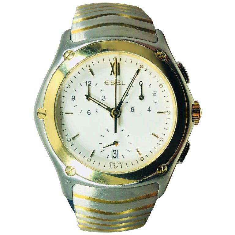 Ebel Yellow Gold Stainless Steel Wave Chronograph quartz Wristwatch