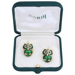 Nardi Green Enamel Cufflinks with Cabochon Sapphire Eyes