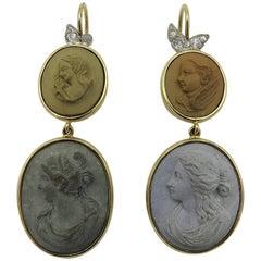 Pair of Lava Cameo and Diamond Earrings