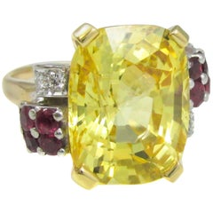 Natural No Heat Yellow Sapphire Ruby Diamond Gold Ring
