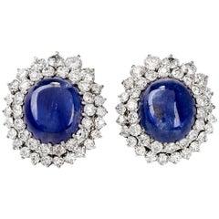 Large Blue Sapphire Cabochon Diamond 18 Karat Gold Cocktail Earrings