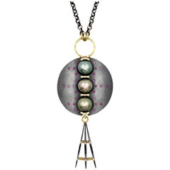 Robin Waynee Three-Pearl Necklace Sterling Silver, 18 Karat Gold, Pearl, Diamond