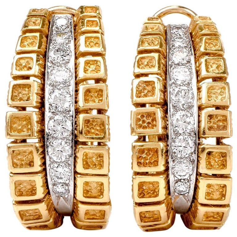 1970s Diamond Hoop 18 Karat Gold Earrings with Clip Back