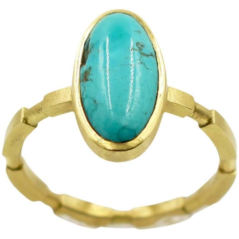Robin Waynee, Turquoise Ring, 18 Karat Gold, Turquoise