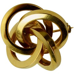 Portuguese Elaborate Lover's Knot Pin, Mid-20th Century, 19.2 Karat Gold
