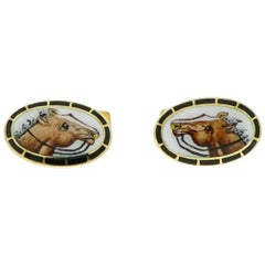 Horse Enameled Oval Shaped Yellow Gold Cufflinks