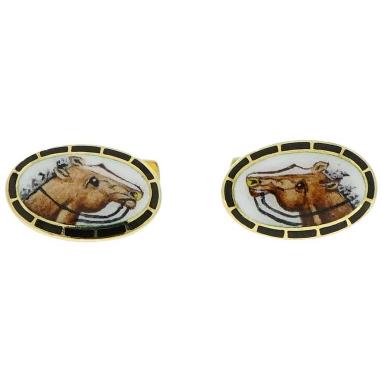 Horse Enameled Oval Shaped Yellow Gold Cufflinks For Sale