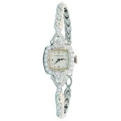Tiffany & Co. Ladies Platinum Diamond Manual Wristwatch, 1930s