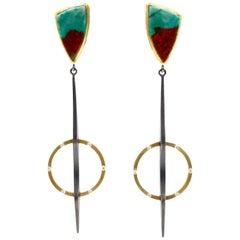 Robin Waynee Sonoran Sunrise Earrings, Silver, Gold, Turquoise, Diamond