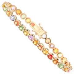 11.20 Carat Multicolored Sapphire Yellow Gold Tennis Bracelet