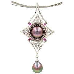 Robin Waynee Reversable Palladium Pendant, Palladium, Pearl, Diamond, Sapphire
