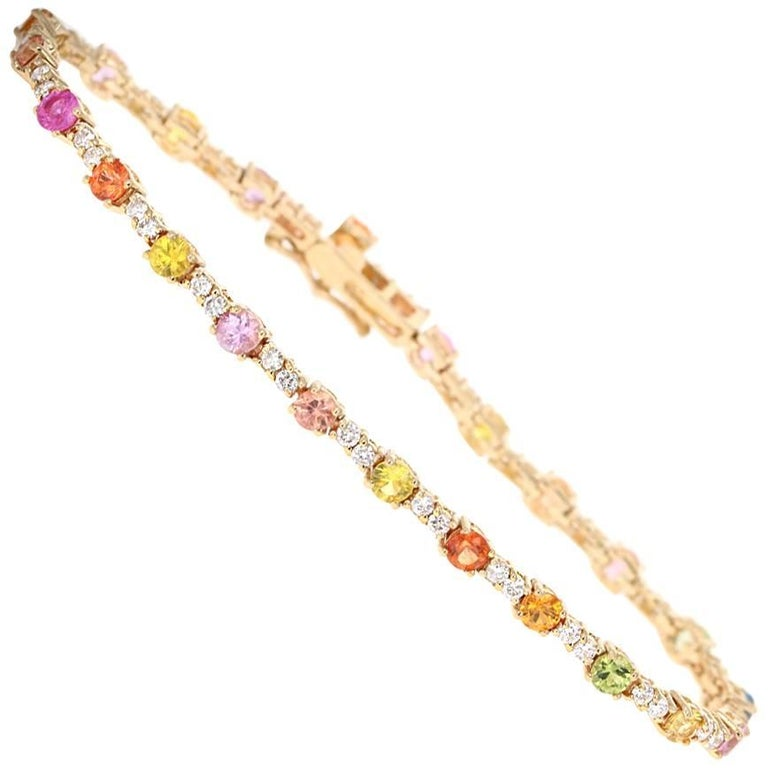 4.49 Carat Multicolored Sapphire Diamond Yellow Gold Tennis Bracelet