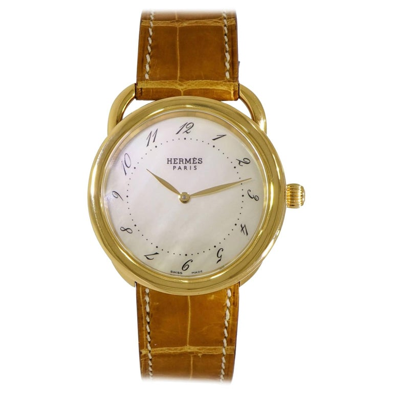 Hermes Ladies Yellow Gold Arceau quartz Wristwatch