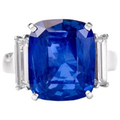 14.21 Carat GIA Natural No-Heat Ceylon Sapphire Diamond Platinum Ring
