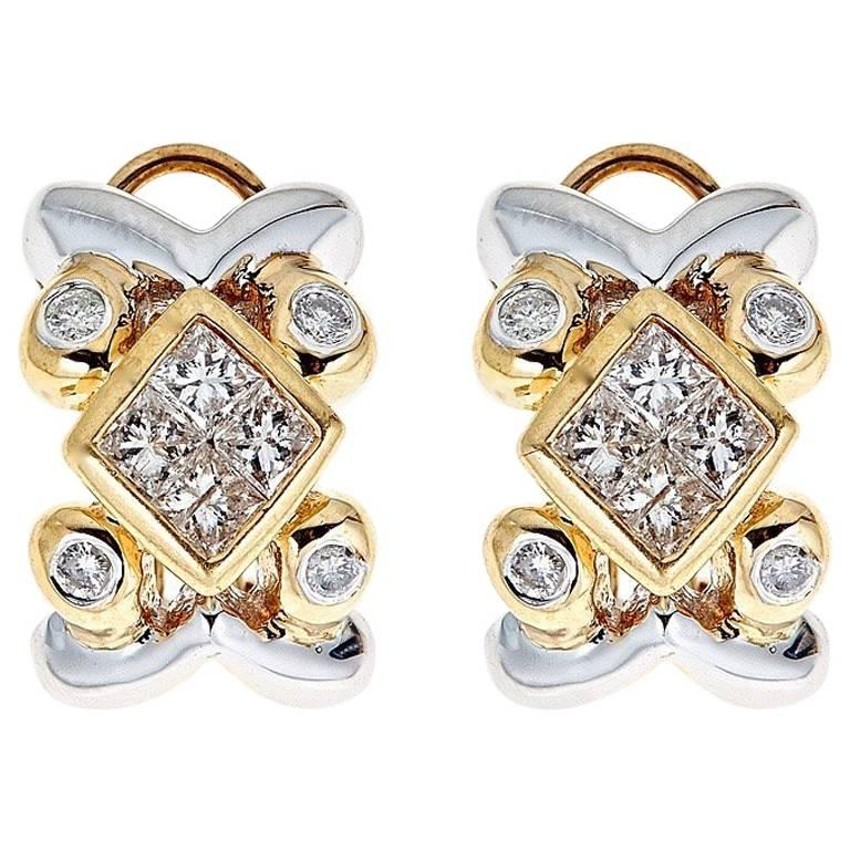 Diamond 14 Karat Gold Earrings For