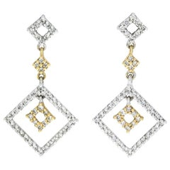Yellow and White Gold 1.00 Carat Diamond Geometric Deco Dangle Earrings