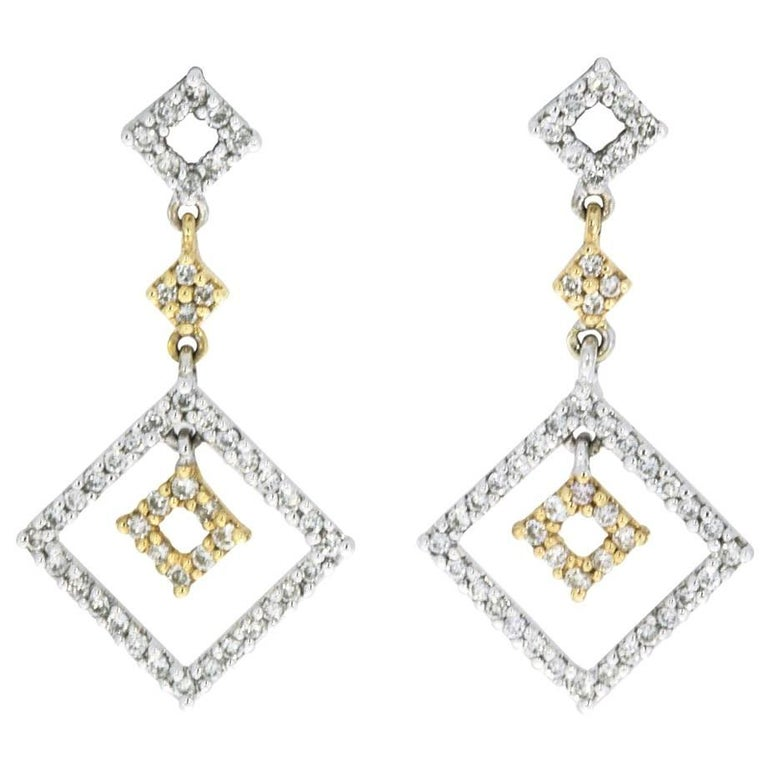 Yellow and White Gold 1.00 Carat Dangle Earrings