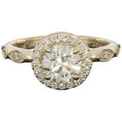 Gabriel & Co Yellow Gold 1.25 Carat Round Diamond Halo Engagement Ring