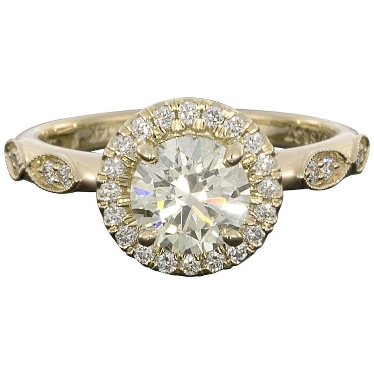 Gabriel & Co Yellow Gold 1.25 Carat Round Diamond Halo Engagement Ring