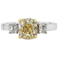 Mark Broumand 1.93 Carat Fancy Yellow Cushion Cut Diamond Engagement Ring