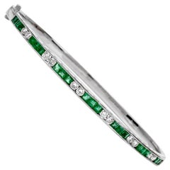 Estate Deco Emerald Diamond 18 Karat Gold Bangle Bracelet