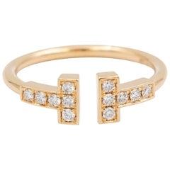 Tiffany & Co. T Wire Diamond Ring, 18 Karat Rose Gold