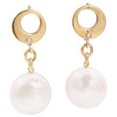 Yvel Golden Brown Drop Earrings with Freshwater Pearl in 18 Karat Yellow Gold