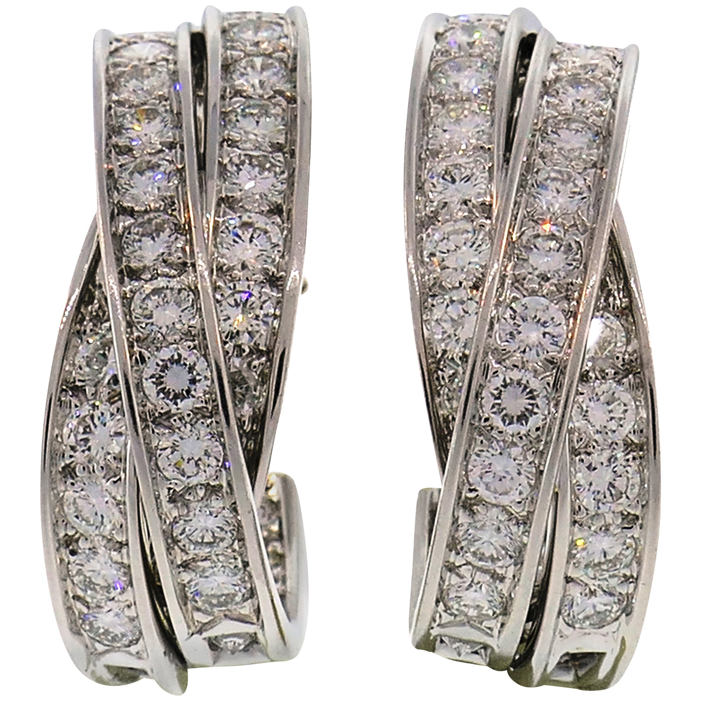 Cartier Trinity Diamond White Gold Hoop Earrings