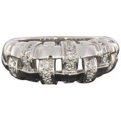 Tiffany & Co. White Gold Diamond Ladies Basket Weave Ring