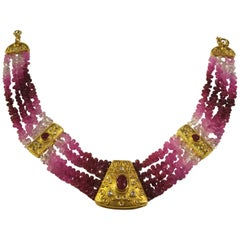 23 Karat Yg Ruby and Diamond Necklace