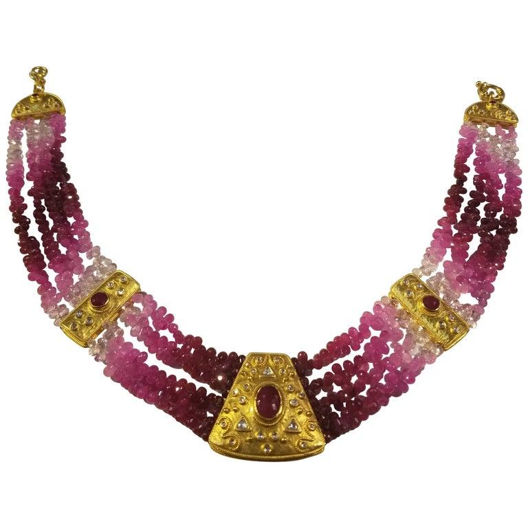 23 Karat Yg Ruby and Diamond Necklace