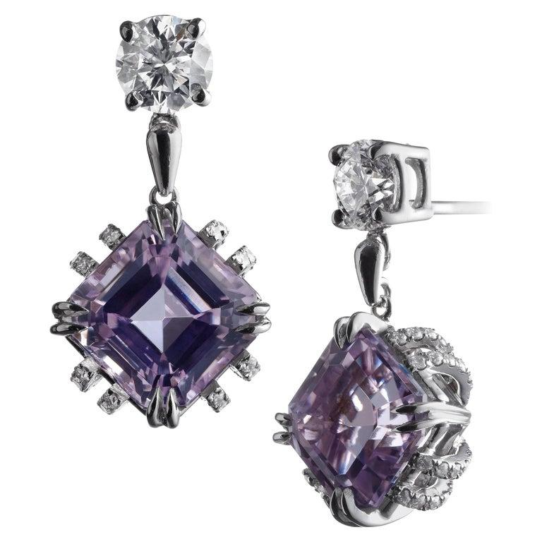 Alexandra Mor Dangling Asscher-Cut Kunzite and Diamond Earrings