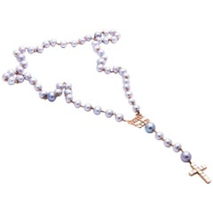 Huckleberry Ltd 18k rose gold and Tahitian pearl Don't Trip Rosary necklace