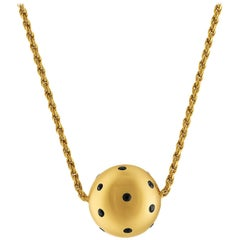 0.40 Carat Blue Sapphire Sphere Ball Gold Necklace