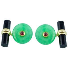 Yellow Gold Cufflinks in Jade and Rubies with Cylindrical Onyx Toggle