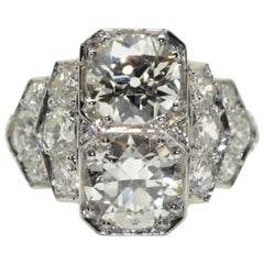 1930s French Art Deco 3.60 Carat Diamond Platinum Ring