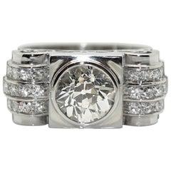 1930s Art-Deco Platinum 2.30 Carat Diamond Solitaire Engagement Ring