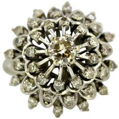 Art Deco 18 Karat Gold Ladies Cluster Ring with Diamonds '0.61 Carat Total'