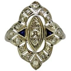 Art Deco 18 Karat Gold Ladies Ring with Diamonds and Blue Sapphire, circa 1920s