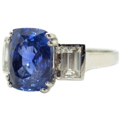 6.94 Carat Natural Burmese Sapphire and Diamond Platinum Ring