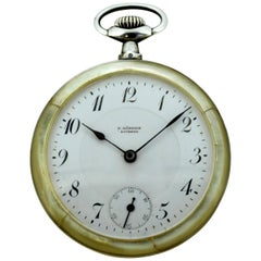 Antique E. Gubelin Lucerne Swiss Pocket Watch, Silver, Mother-of-Pearl