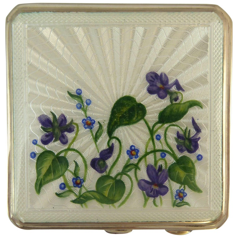 Vintage Silver & Enamelled Floral Powder Compact with Mirror, Hallmarked, 1952