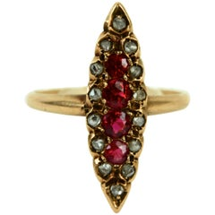 Victorian Navette Shaped Rose Cut Diamond and Garnet Ring, 14 Karat